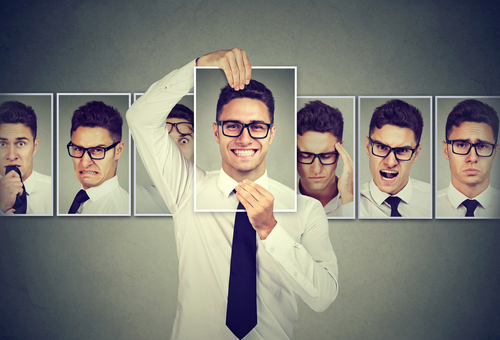 man showing different moods on frames