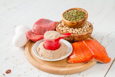 protein powder and protein rich food, salmon, egg, meat, soy
