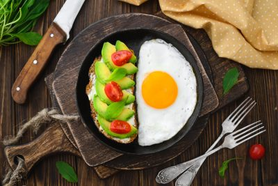 healthy breakfast, egg, avocado on toast