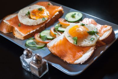 salmon and egg on toast