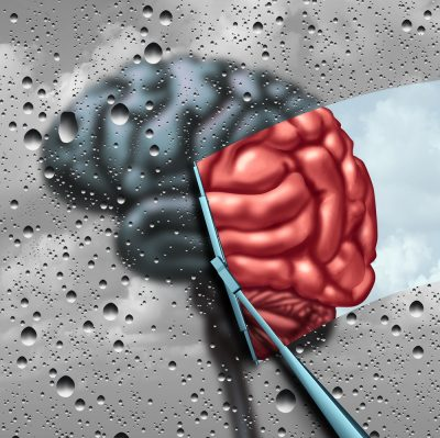 wipers on brain revealing color represent alzheimer's cure
